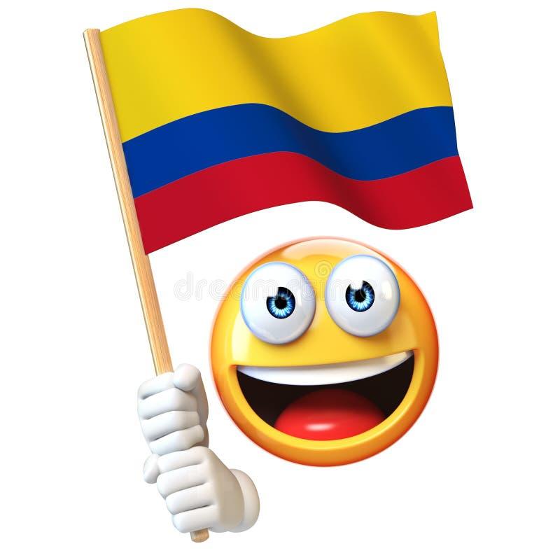 Emoji που κρατά την κολομβιανή σημαία, emoticon κυματίζοντας εθνική σημαία της τρισδιάστατης απόδοσης της Κολομβίας απεικόνιση αποθεμάτων