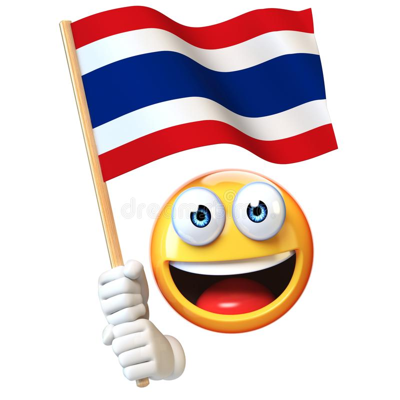 Emoji που κρατά την ταϊλανδική σημαία, emoticon κυματίζοντας εθνική σημαία της τρισδιάστατης απόδοσης της Ταϊλάνδης ελεύθερη απεικόνιση δικαιώματος