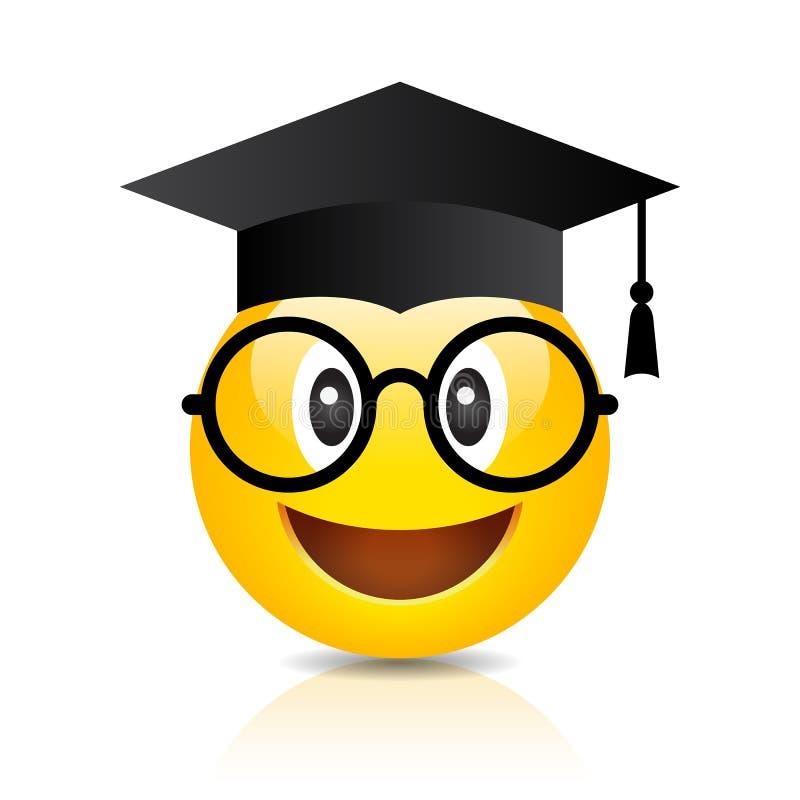Аспирант Emoji изолированный на белой предпосылке, переводе крышки ...