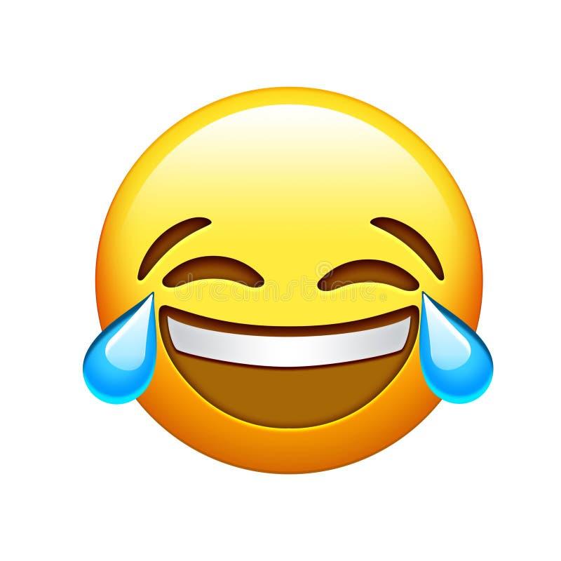 Emoji желтеет значок разрыв смеха и плакать lol стороны иллюстрация вектора