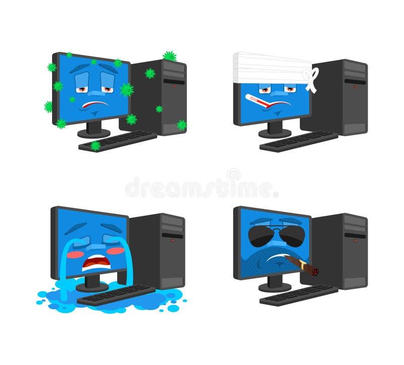 Набор emoji компьютера ПК больной и грустный Перевязанный и зверский собрание устройства для обработки данных ситуаций иллюстрация вектора