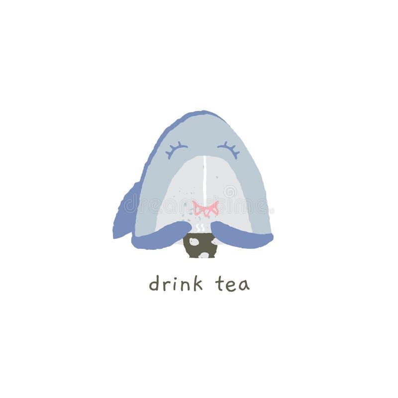 Emoji руки вектора вычерченное Милая улыбка акулы с чашкой чаю иллюстрация штока