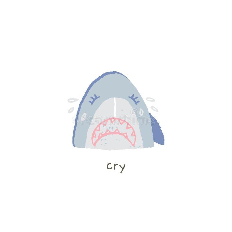 Emoji руки вектора вычерченное Прекрасная улыбка акулы грустна и выкрики иллюстрация вектора