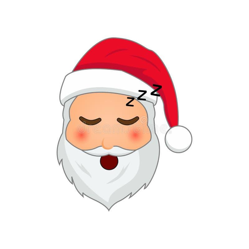 Emoji Санта Клаус Смайлик зимних отдыхов Санта Клаус в уснувшем значке emoji иллюстрация вектора