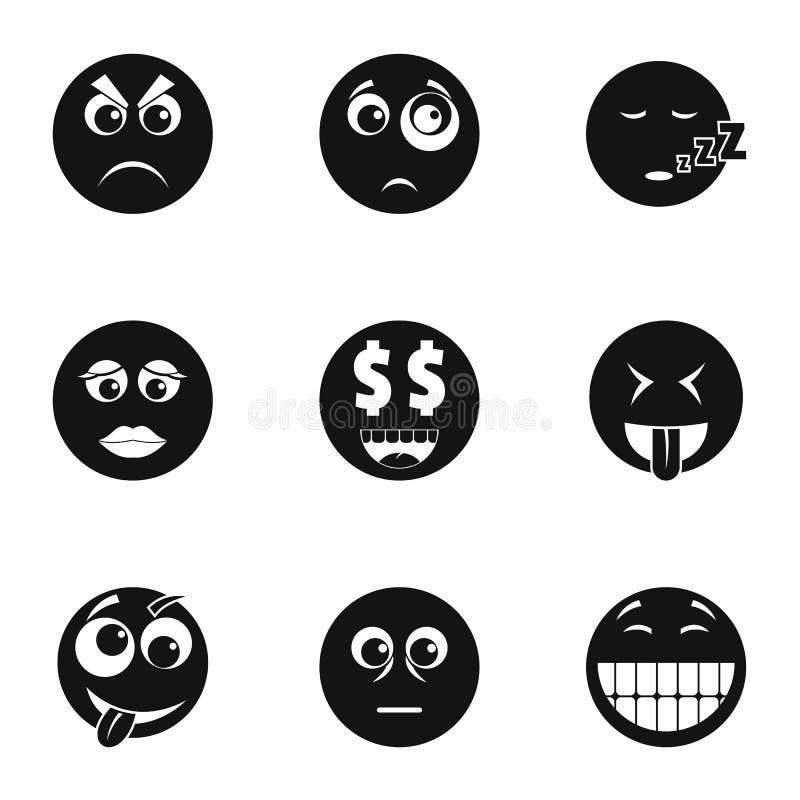 Emoji смотрит на установленные значки, простой стиль бесплатная иллюстрация