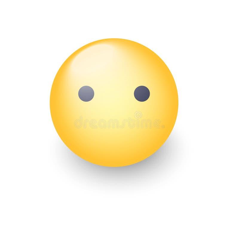 Emoji стороны без рта Смайлик вектора шаржа молчаливый Значок Smiley милый иллюстрация вектора
