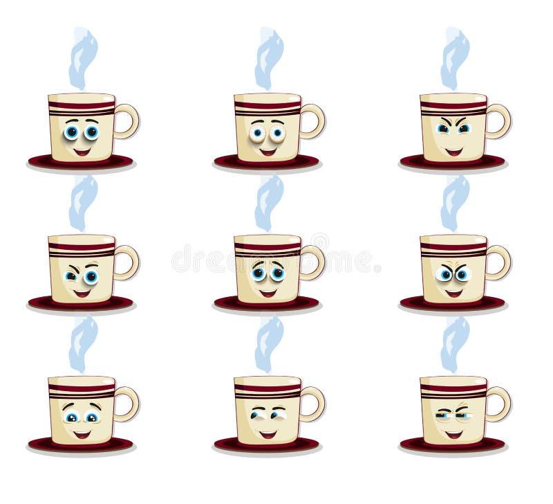 Emoji чашки установленное с щеками, глазами и усмехаясь ртом бесплатная иллюстрация