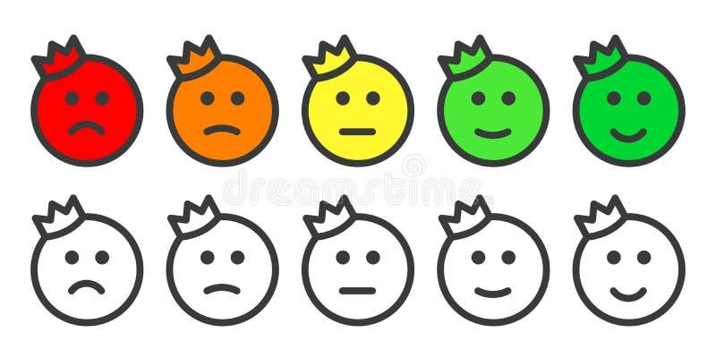 Emoji满意程度的率的王子象 库存例证