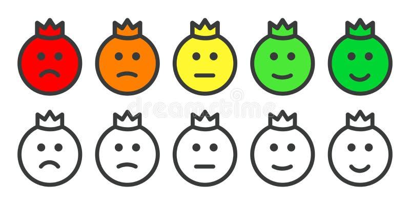 Emoji满意程度的率的王子象 向量例证