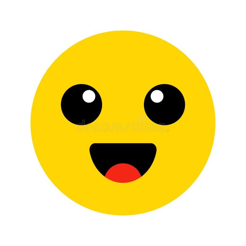 Emoji 河井黄色面孔 逗人喜爱的意思号 平的微笑 也corel凹道例证向量 库存例证