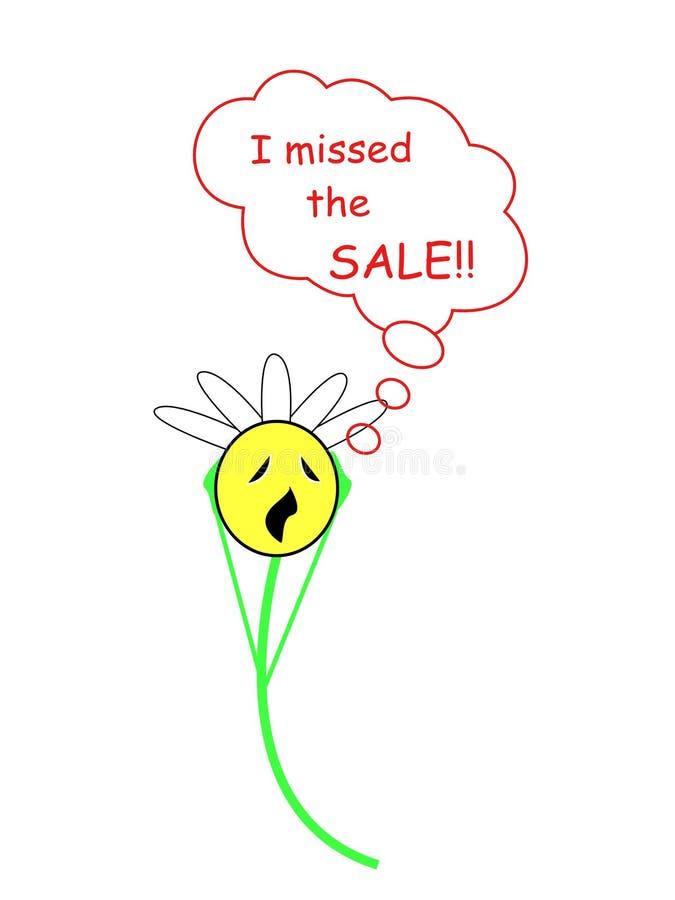 Emoji affligé de marguerite, émoticône, parce qu'elle le ` s a manqué la vente illustration de vecteur