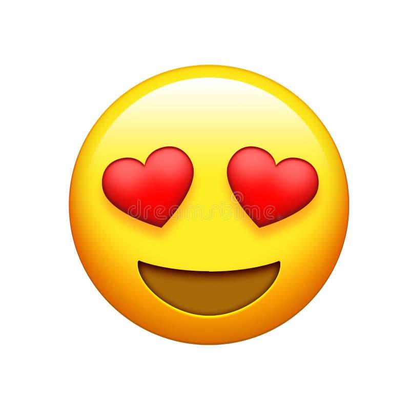 Emoji amarela os olhos vermelhos do coração da cara e o ícone grande do riso ilustração stock