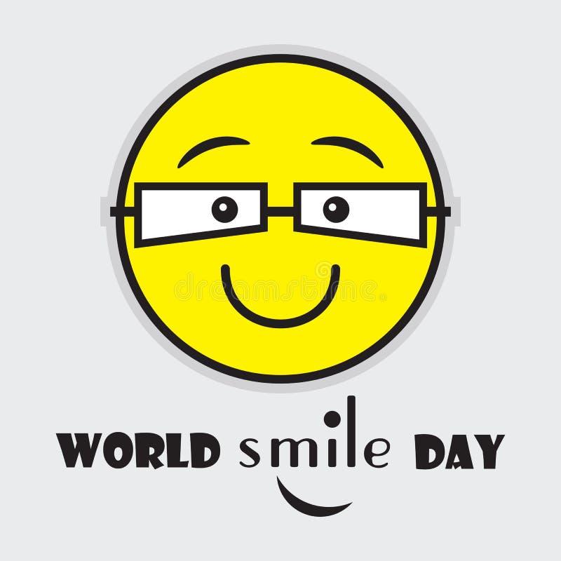 Emoji amarelo bonito do dia do sorriso do mundo com vidros do olho ilustração stock