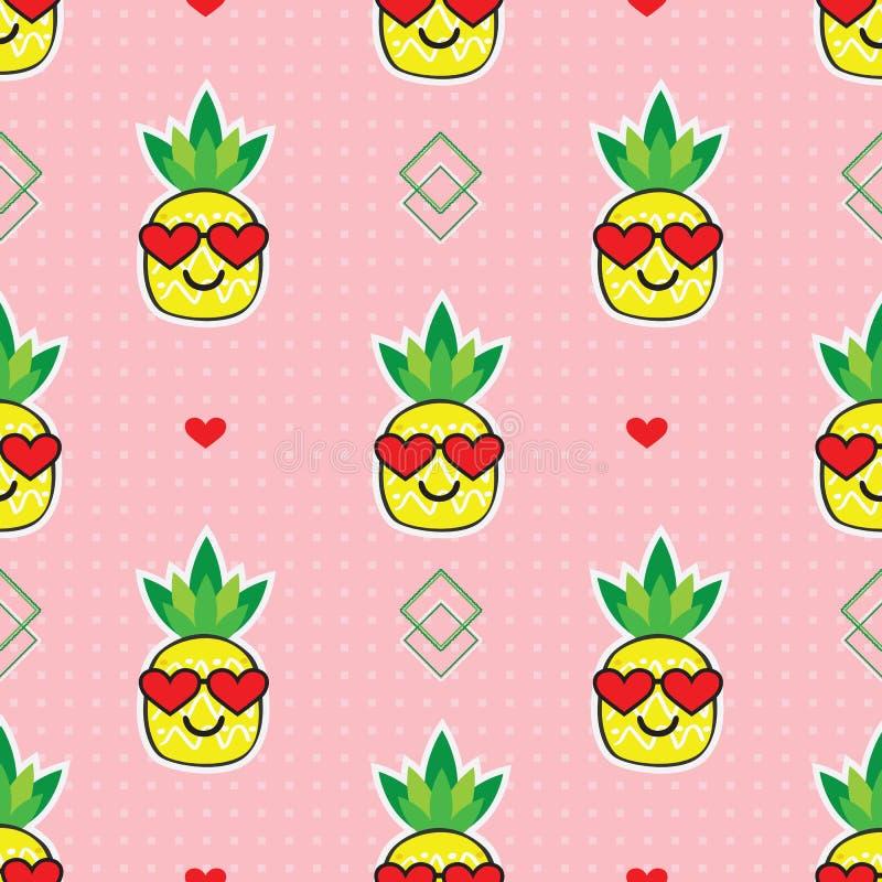 Emoji amarelo bonito dos abacaxis dos desenhos animados com os óculos de sol vermelhos do coração no teste padrão pontilhado cor- ilustração stock