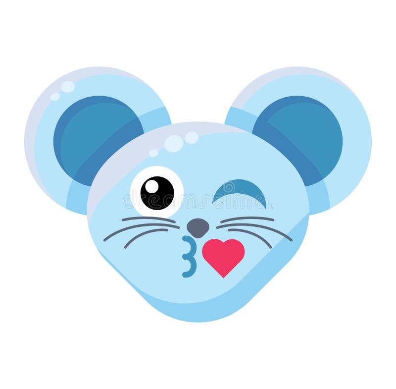 Emoji Animal Mouse Kiss с выражением сердца бесплатная иллюстрация