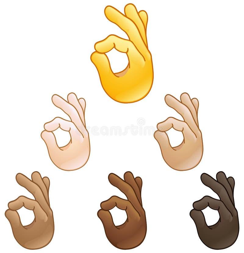 Emoji aprovado do sinal da mão ilustração do vetor