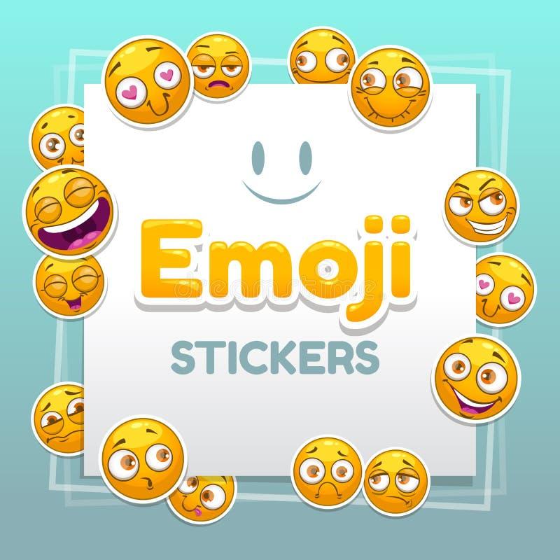 Emoji-Aufkleberhintergrund Abstrakter Hintergrund mit lustigen smileygelbgesichtern stock abbildung