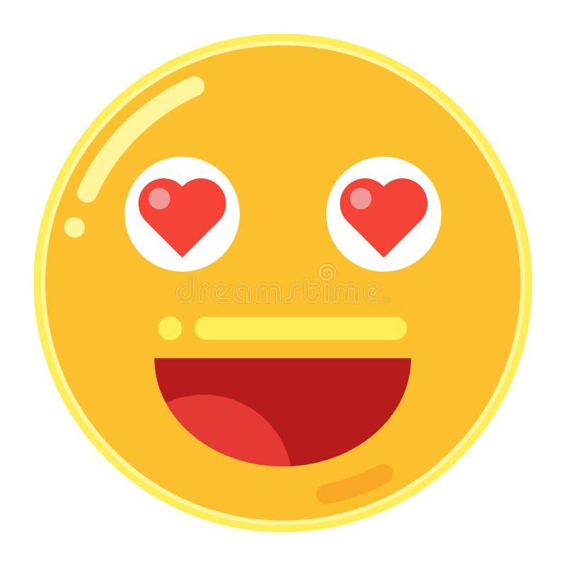 Emoji av Smiley Face med förälskelsehjärta i plan designsymbolsvektor royaltyfri illustrationer