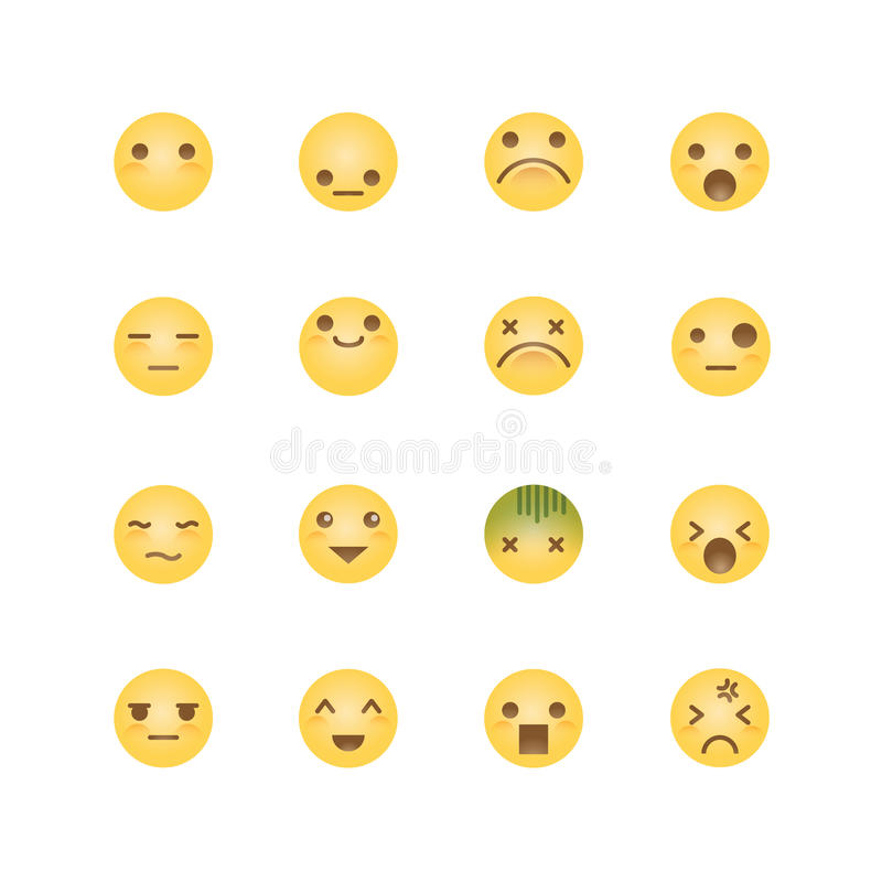 Emoji avatar collection set, emoticons isolated icons flat line. Design on white background, vector illustration royalty free illustration