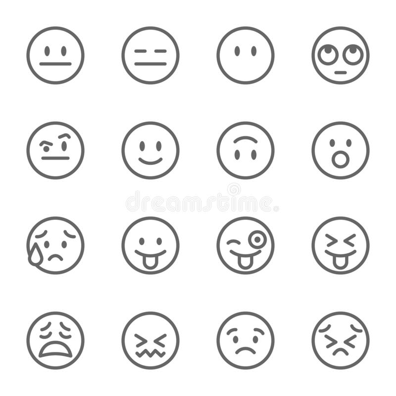 Emoji Avatar Face Vector Line Icon Set. Contains such Icons as Winking Face with Tongue, Confounded Face , Persevering Face and mo stock illustration