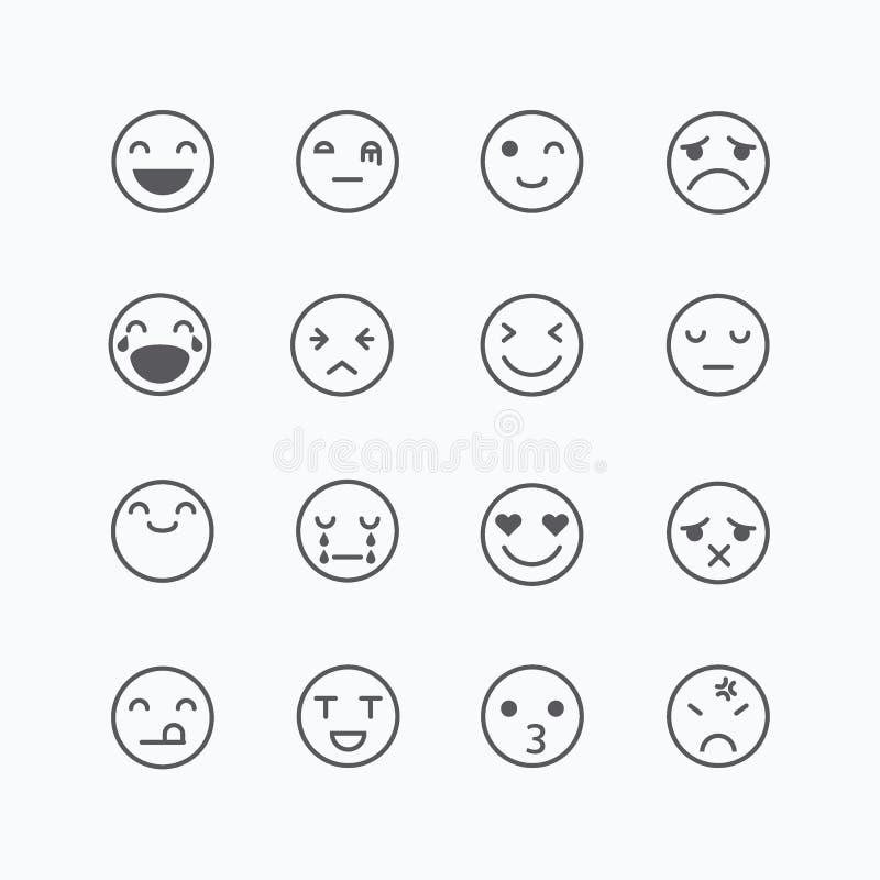 Emoji avatar kolekci set, emoticons odizolowywający ikony mieszkanie wykłada royalty ilustracja