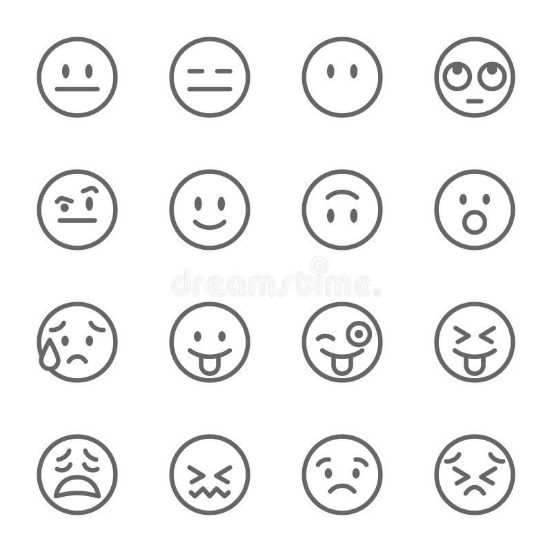 Emoji-Avatara-Gesichts-Vektor-Linie Ikonen-Satz Enthält solche Ikonen als Blinzeln des Gesichtes mit der Zunge, des verwirrten Ge stock abbildung