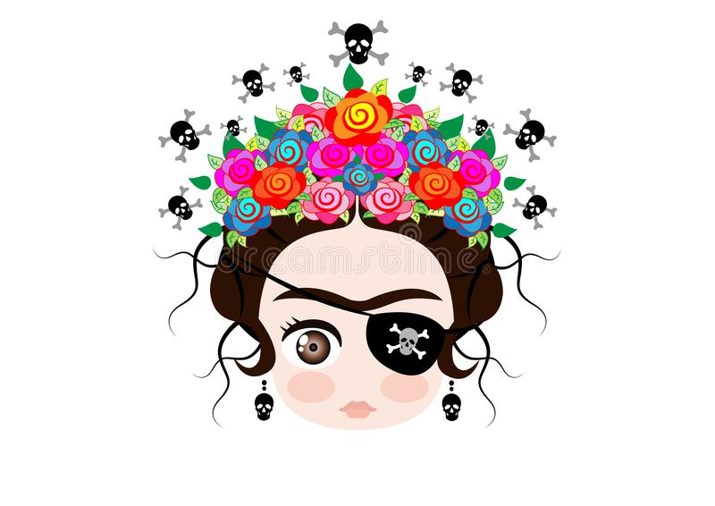 Emoji baby Frida Kahlo with crown and of colorful flowers, Pirate icon Emoji, vector isolated royalty free illustration