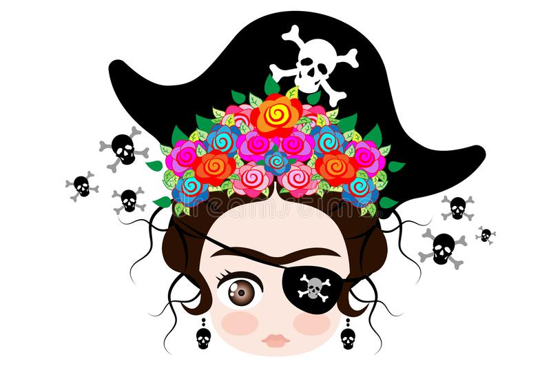 Emoji baby Frida Kahlo with crown and of colorful flowers, Pirate icon Emoji, vector isolated stock illustration