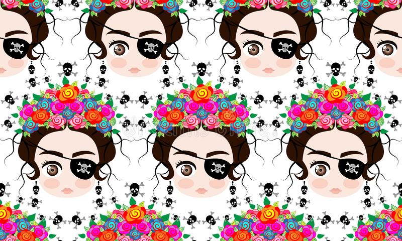 Emoji baby Mexican woman with crown of colorful flowers, typical Mexican hairstyle, little girl Pirate icon Emoji, seamless royalty free illustration