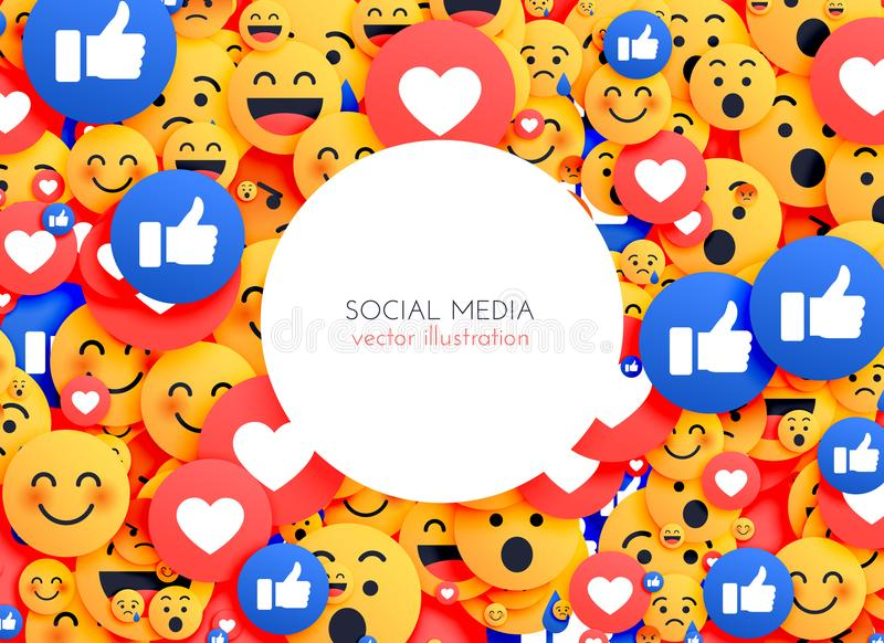 Emoji background smiley icons for social media stock illustration