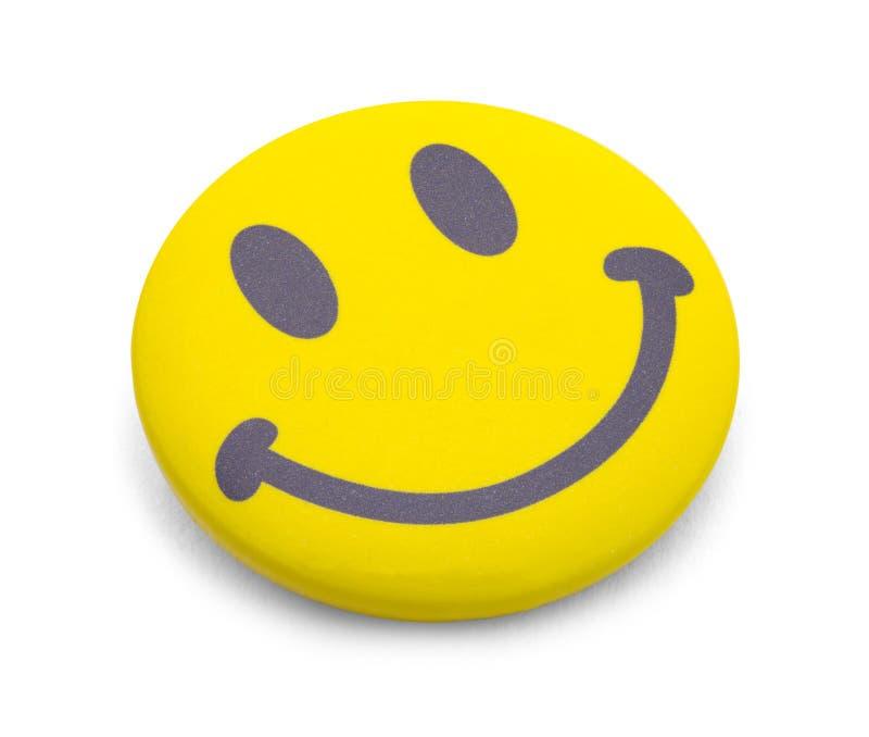 Emoji Button. Yellow Happy Face Emoji Button Isolated on White royalty free stock photos