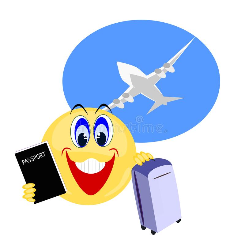 Emoji Carrying Travel Passport And Luggage With Airplane ...