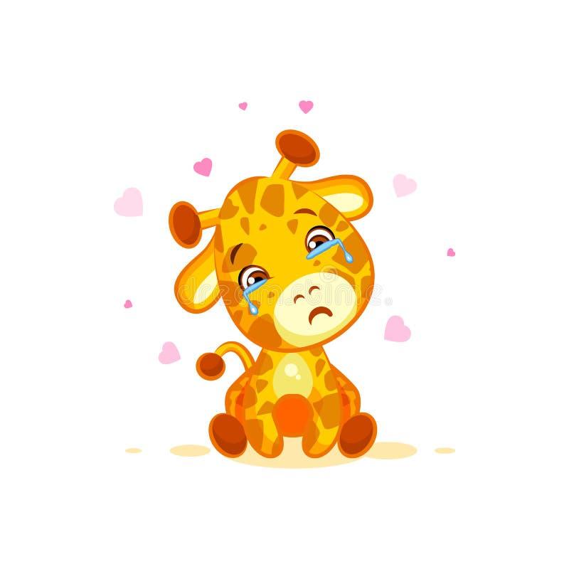 Emoji che grida mancanza della giraffa del fumetto del carattere degli strappi voi emoticon frustrato triste dell'autoadesivo royalty illustrazione gratis