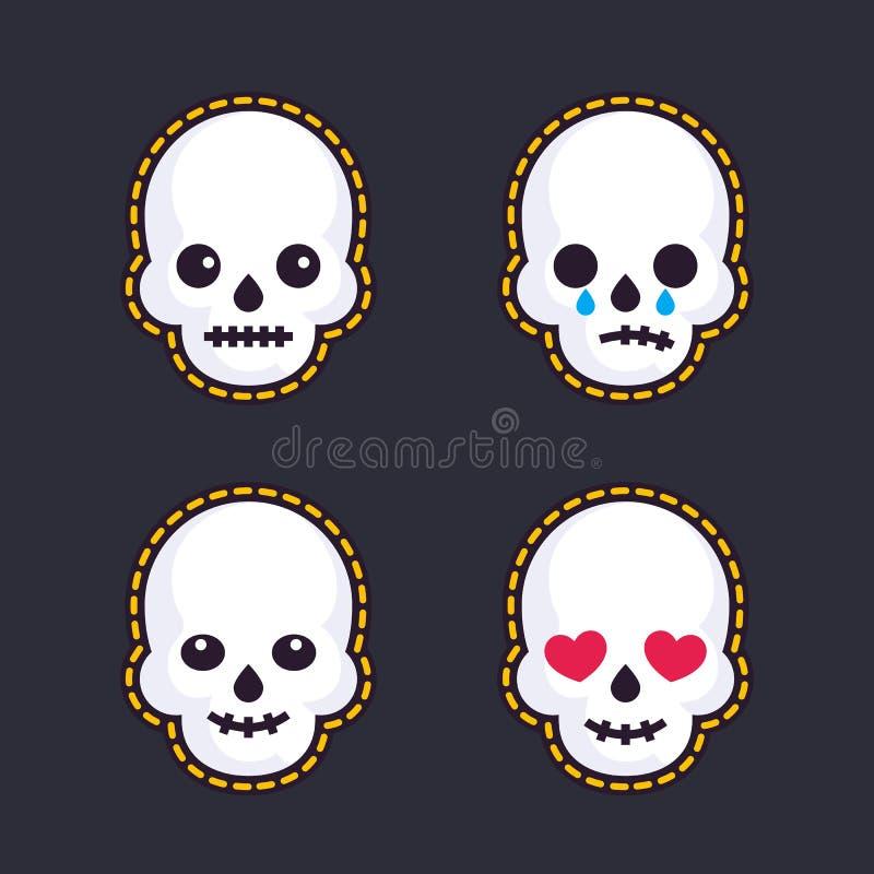 Emoji con i crani illustrazione di stock