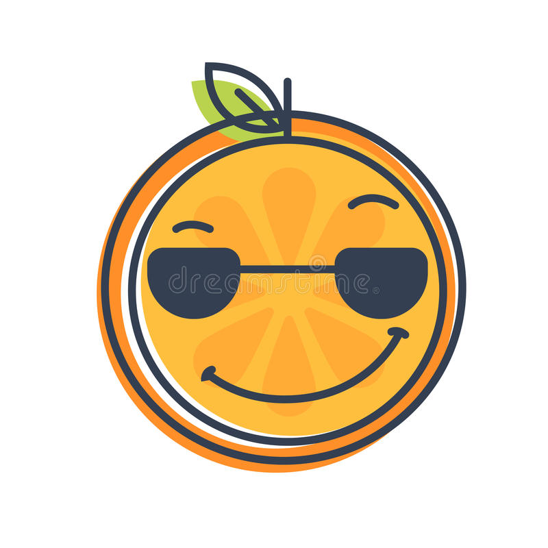 Emoji Cool Orange With Sunglasses Isolated Vector Stock Vector