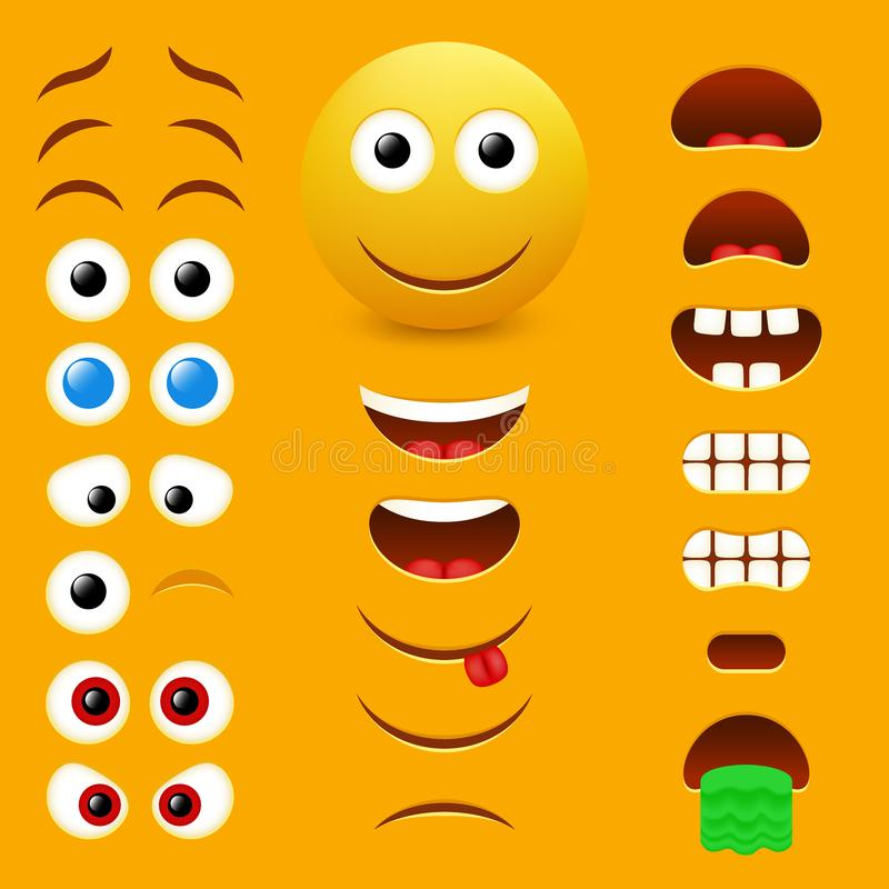 Emoji creator vector design collection. Emoji maker, smiley creator. Vector design collection of emoticon body parts allows you to create your own cool male royalty free illustration