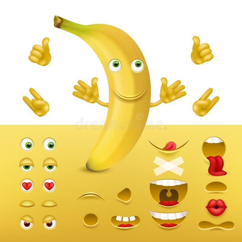 Emoji, criador do smiley da banana Coleção dos detalhes para criar emoções Imagem do vetor ilustração stock