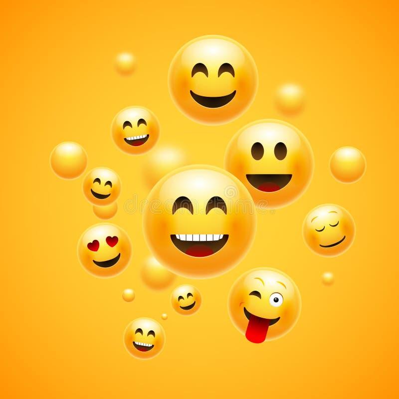 Emoji 3d意思号背景 动画片面孔小组兴高采烈的愉快的友谊emoji滑稽的设计观念 库存例证