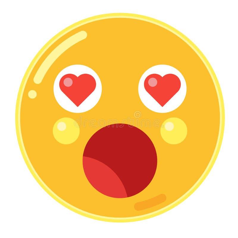 Emoji d'étonnement avec des yeux de coeur d'amour dans le vecteur plat de conception illustration de vecteur