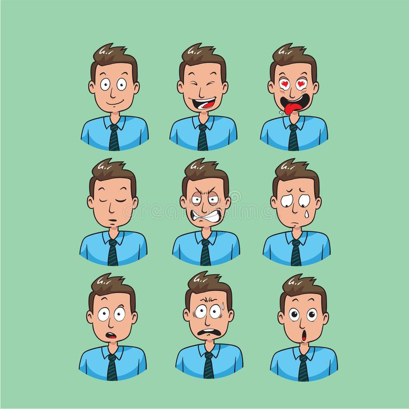 Emoji d'homme d'affaires, icônes de sourire d'employé de bureau réglées illustration libre de droits