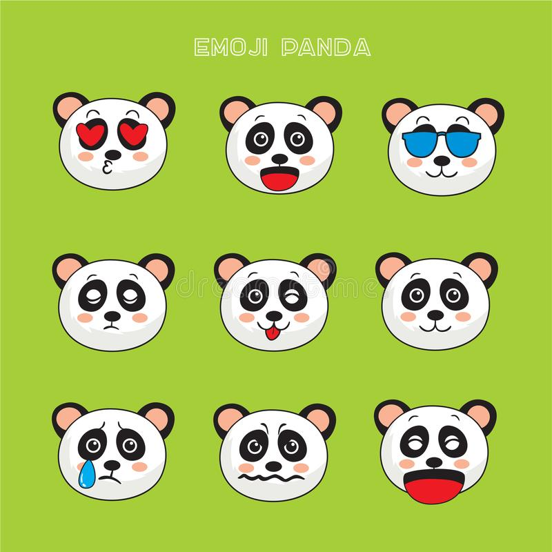 Emoji d'ours panda, icônes de sourire de panda réglées illustration libre de droits