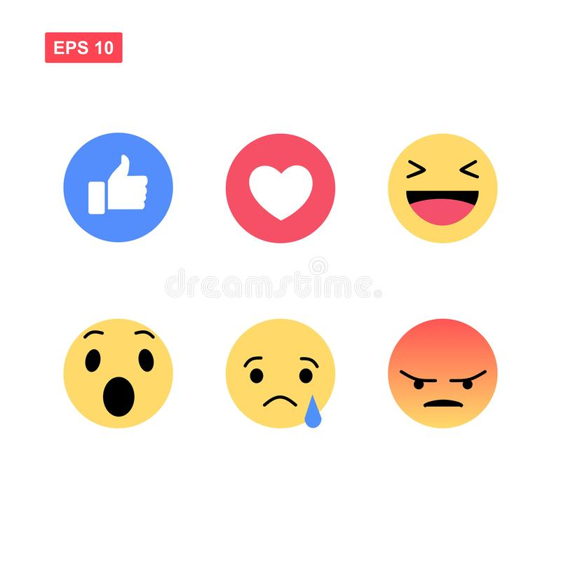 Emoji de Facebook d'isolement illustration stock