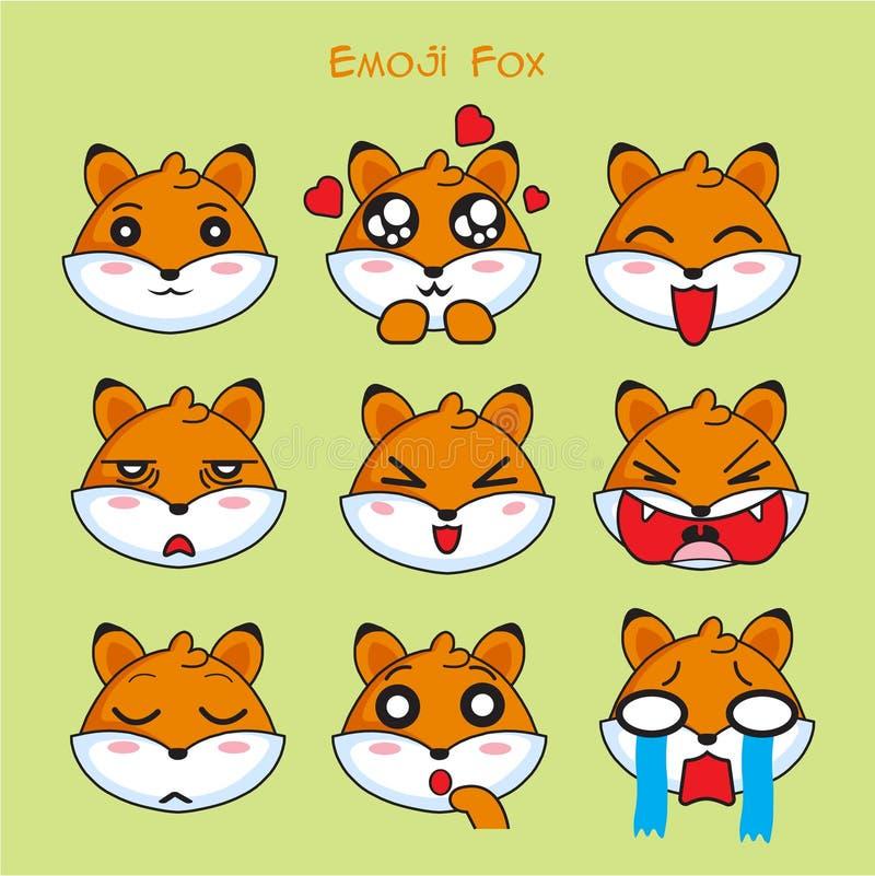 Emoji de Fox, icônes de sourire de renarde réglées illustration stock