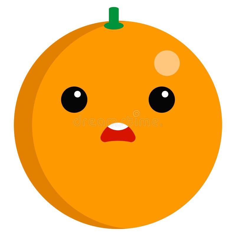 Emoji de froncement de sourcils orange de visage avec l'illustration ouverte de vecteur de bouche illustration de vecteur
