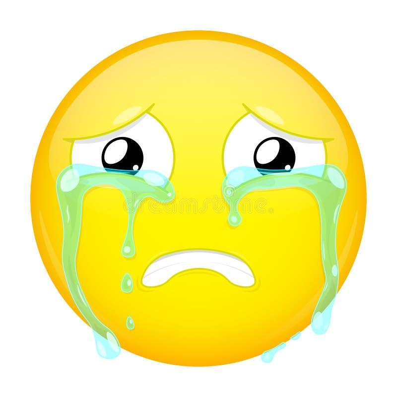 Emoji de grito triste Emoção má Chorando o emoticon Ícone do sorriso da ilustração do vetor imagem de stock