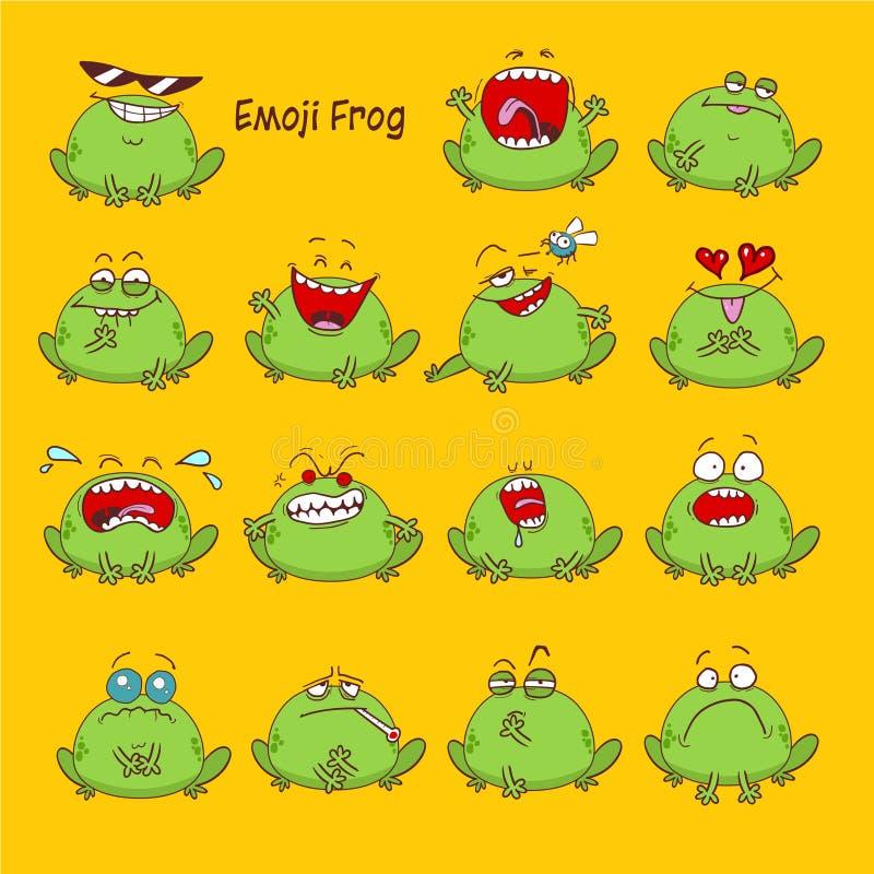 Emoji de la rana, iconos de la sonrisa del sapo fijados libre illustration