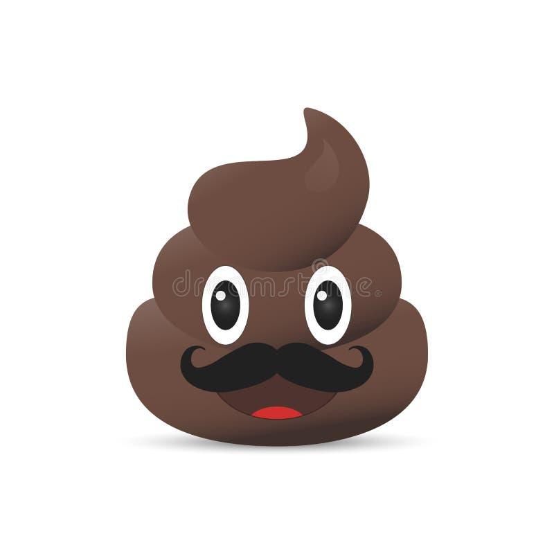 Emoji de merde Émoticône de Poo Visage de dunette d'isolement illustration libre de droits