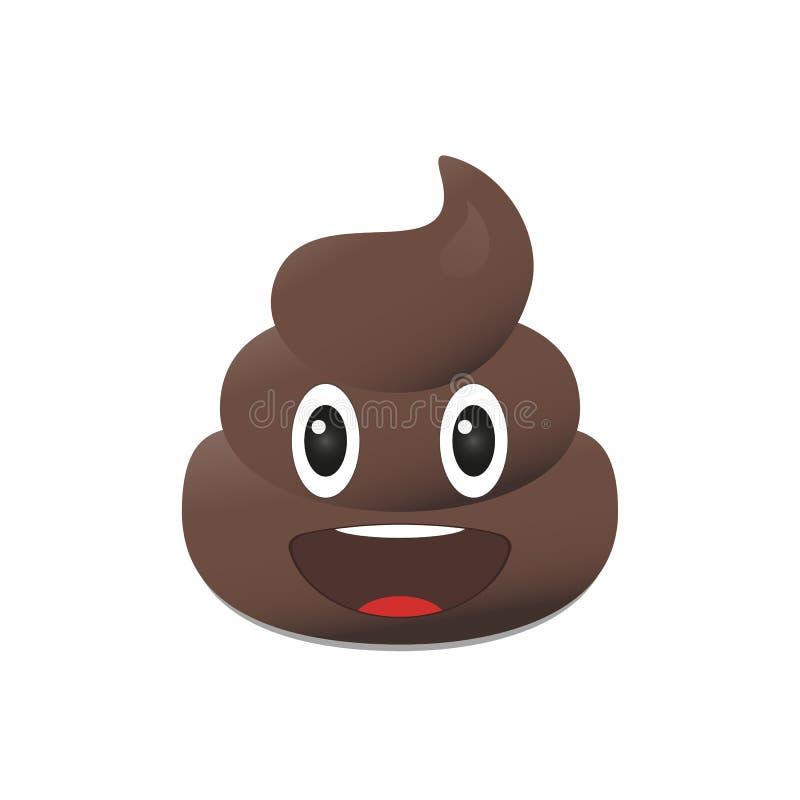 Emoji de merde Émoticône de Poo Visage de dunette d'isolement illustration de vecteur