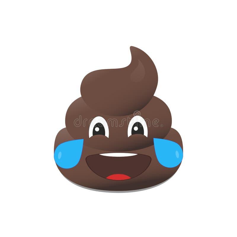 Emoji de merde Émoticône de Poo Visage de dunette d'isolement illustration stock