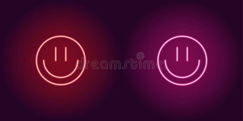 Emoji de néon com sorriso, sinal de incandescência Engrena o ícone ilustração stock